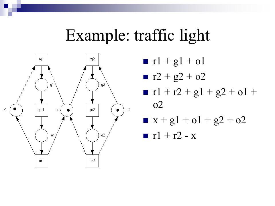 Example: traffic light r1 + g1 + o1 r2 + g2 + o2 r1 + r2 + g1 + g2 + o1 + o2 x + g1 + o1 + g2 + o2 r1 + r2 - x