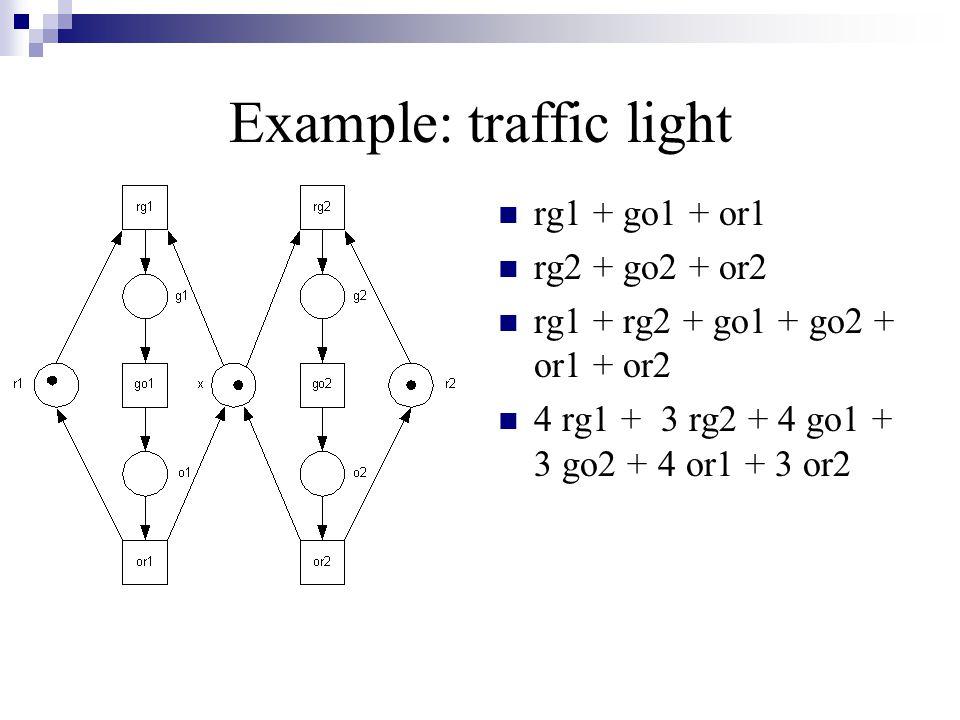 Example: traffic light rg1 + go1 + or1 rg2 + go2 + or2 rg1 + rg2 + go1 + go2 + or1 + or2 4 rg1 + 3 rg2 + 4 go1 + 3 go2 + 4 or1 + 3 or2