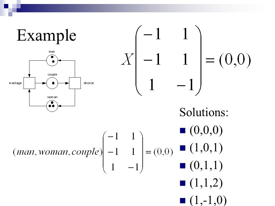 Example Solutions: (0,0,0) (1,0,1) (0,1,1) (1,1,2) (1,-1,0)