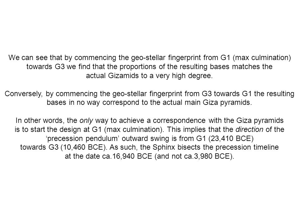 We can see that by commencing the geo-stellar fingerprint from G1 (max culmination) towards G3 we find that the proportions of the resulting bases mat