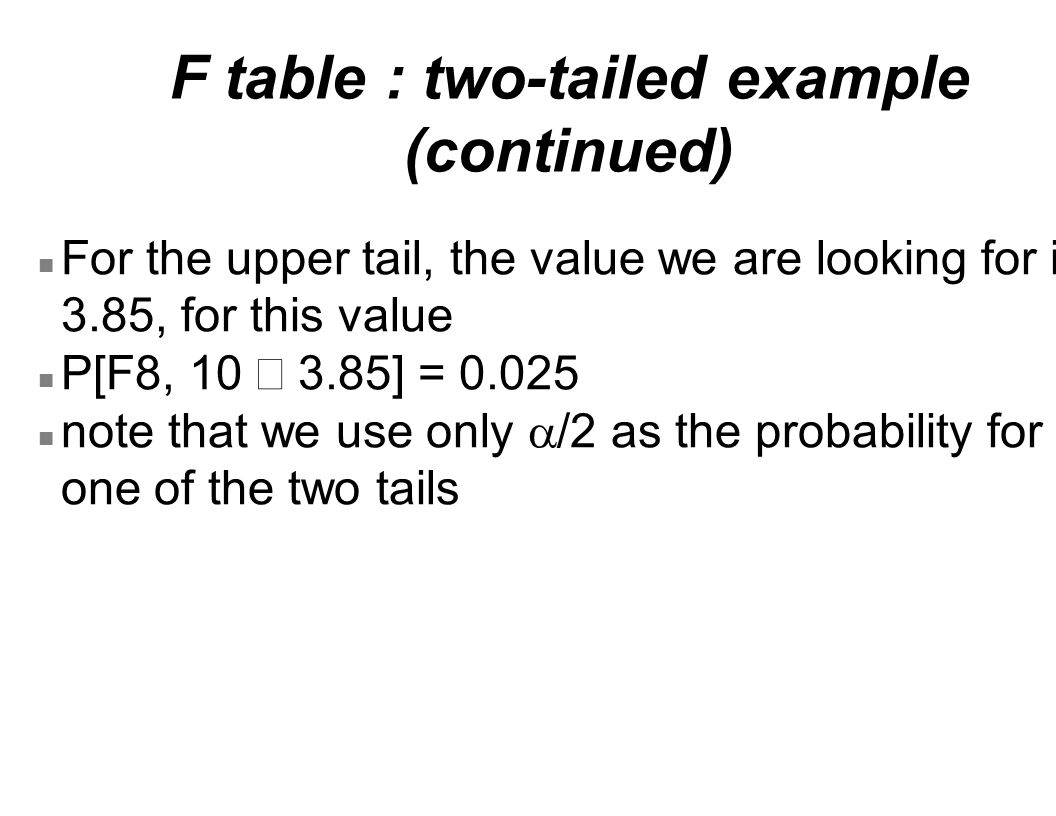 F table : two-tailed example (continued) n For the upper tail, the value we are looking for is 3.85, for this value P[F8, 10  3.85] = 0.025 note that