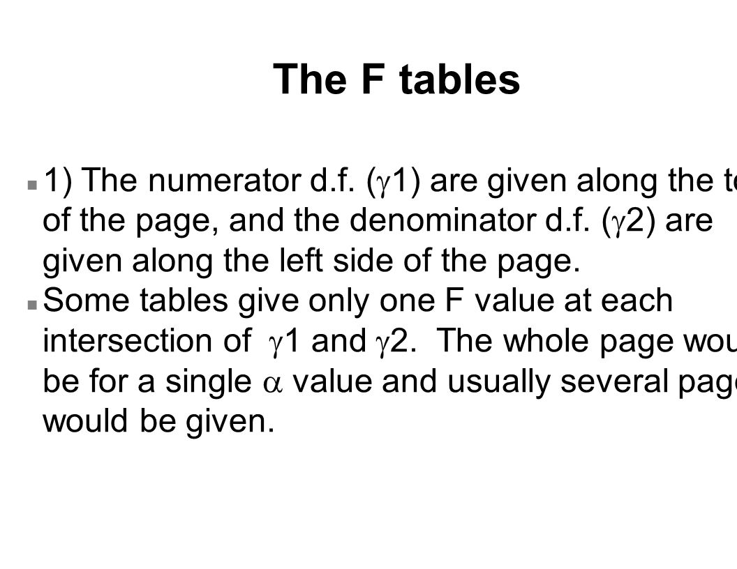F table : two-tailed example (continued) n in order to find the lower tail, we reverse the d.f., we find that P[F10, 8  4.30] = 0.025 and then calculate n F8, 10 d.f.
