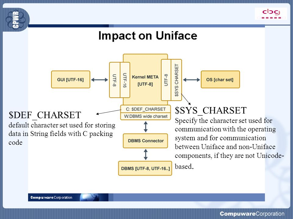 $DEF_CHARSET default character set used for storing data in String fields with C packing code $SYS_CHARSET Specify the character set used for communication with the operating system and for communication between Uniface and non-Uniface components, if they are not Unicode- based.