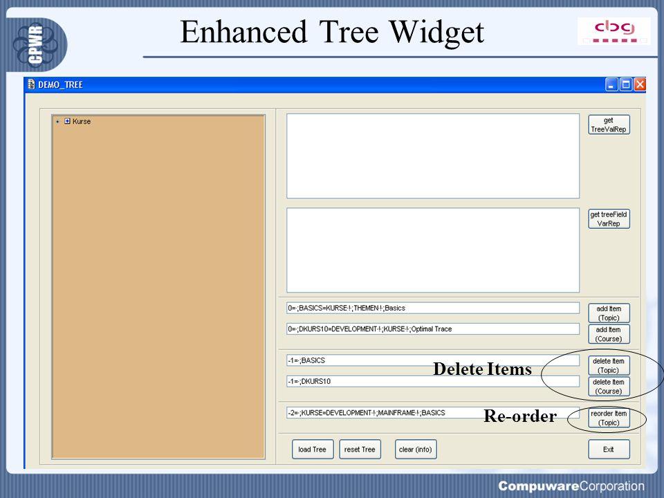 Enhanced Tree Widget Delete Items Re-order