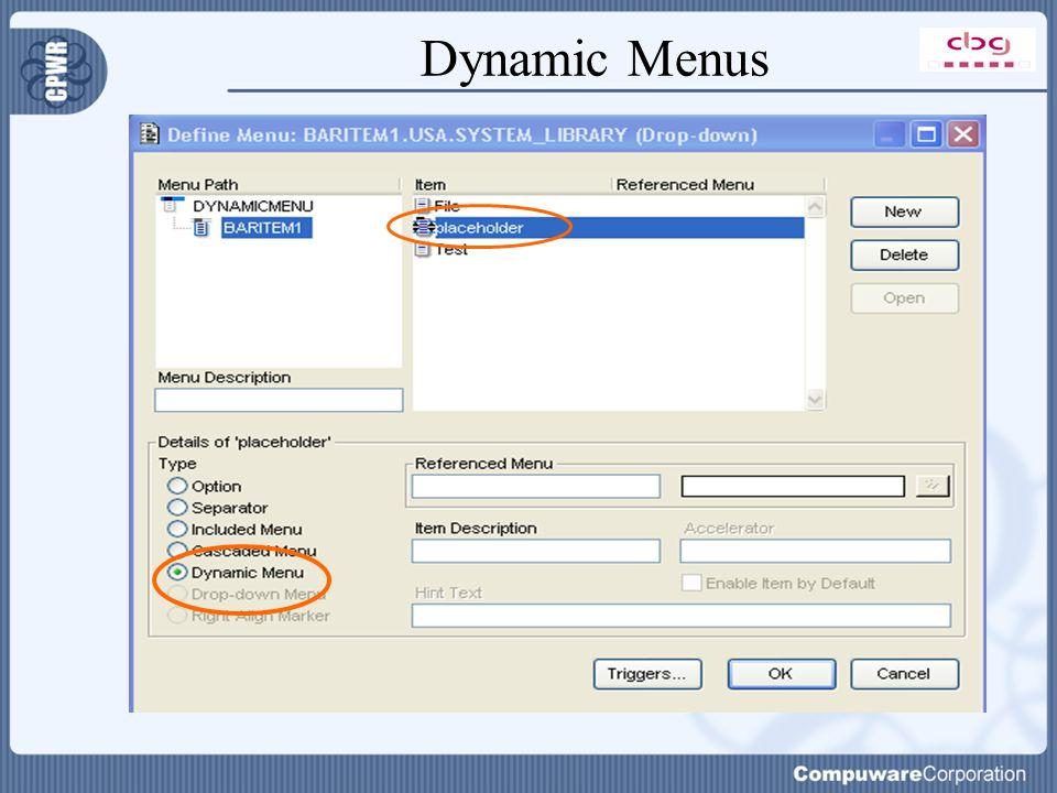 Dynamic Menus
