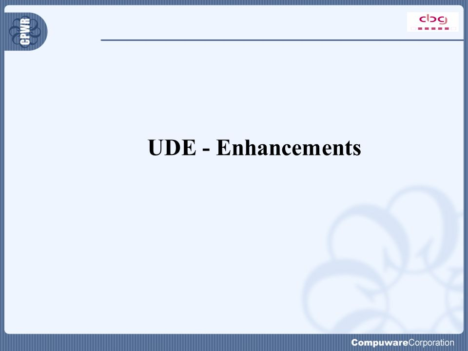 UDE - Enhancements