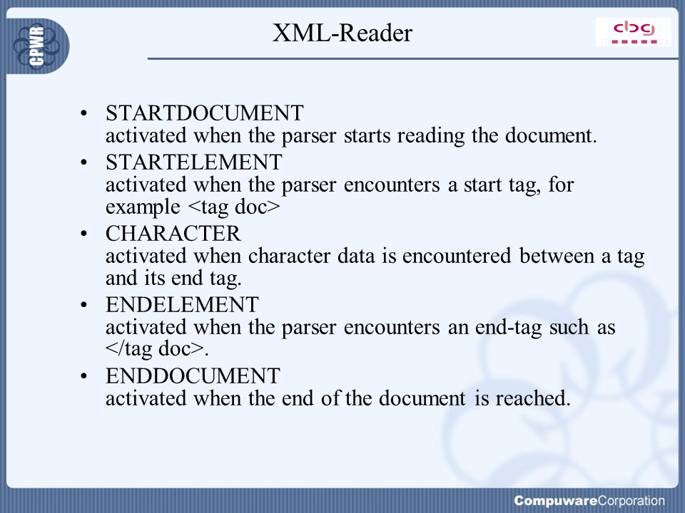 XML-Reader STARTDOCUMENT activated when the parser starts reading the document.