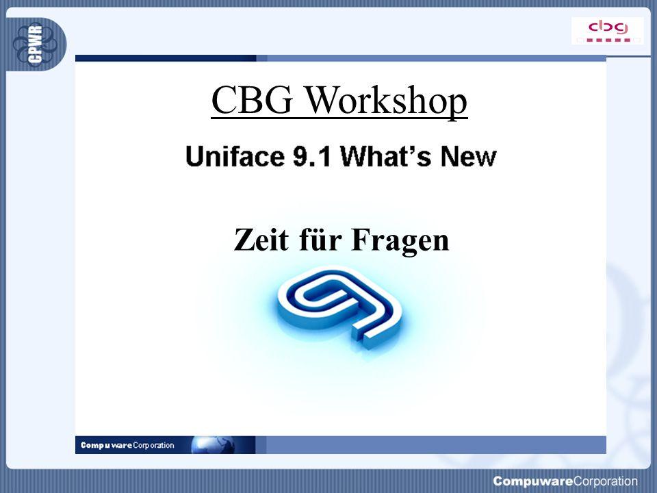 Zeit für Fragen CBG Workshop