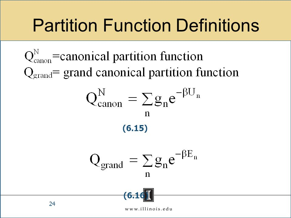 Partition Function Definitions 24 (6.15) (6.16)