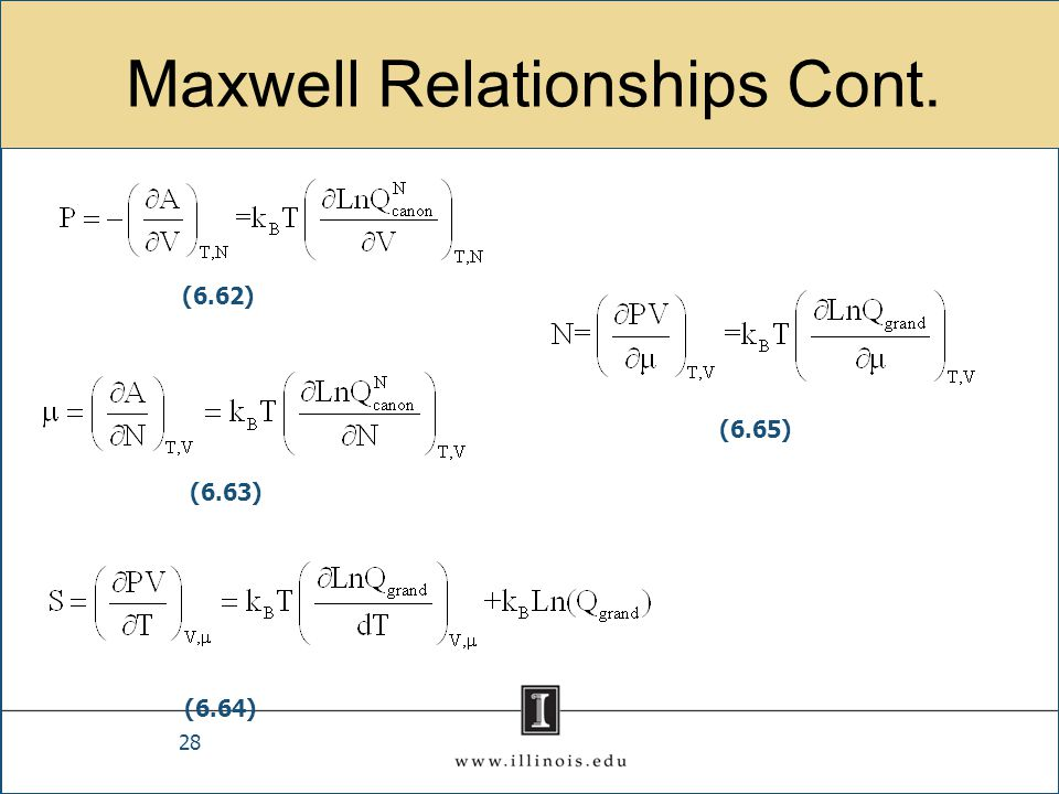 Maxwell Relationships Cont. 28 (6.62) (6.63) (6.64) (6.65)