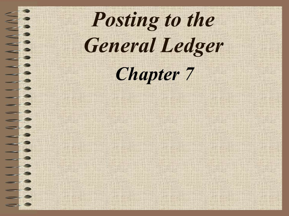 Posting to the General Ledger Chapter 7