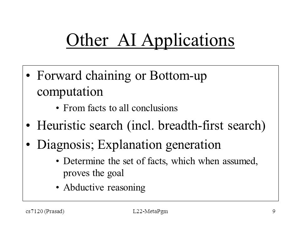 Other AI Applications Forward chaining or Bottom-up computation From facts to all conclusions Heuristic search (incl. breadth-first search) Diagnosis;