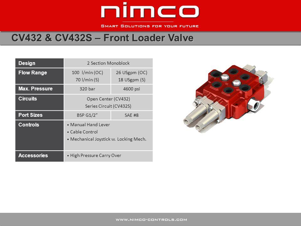 CV432 & CV432S – Front Loader Valve Design 2 Section Monoblock Flow Range 100 l/min (OC) 70 l/min (S) 26 USgpm (OC) 18 USgpm (S) Max. Pressure 320 bar