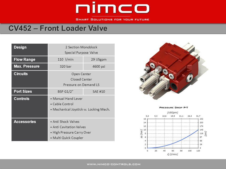 CV452 – Front Loader Valve Design 2 Section Monoblock Special Purpose Valve Flow Range 110 l/min29 USgpm Max. Pressure 320 bar4600 psi Circuits Open C
