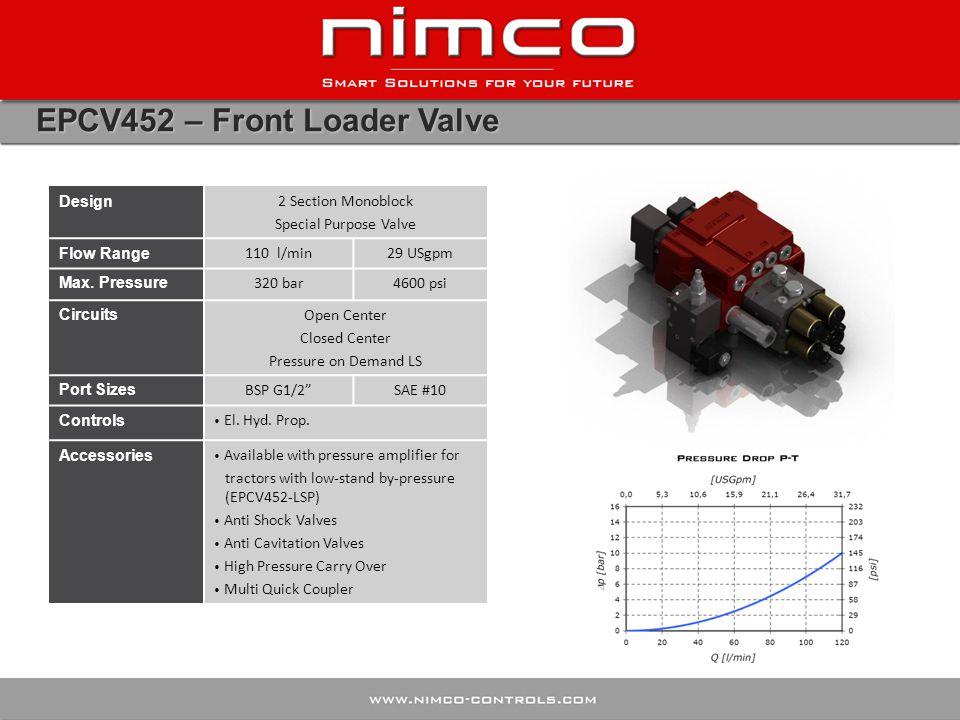 EPCV452 – Front Loader Valve Design 2 Section Monoblock Special Purpose Valve Flow Range 110 l/min29 USgpm Max. Pressure 320 bar4600 psi Circuits Open