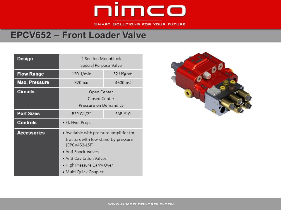 EPCV652 – Front Loader Valve Design 2 Section Monoblock Special Purpose Valve Flow Range 120 l/min32 USgpm Max. Pressure 320 bar4600 psi Circuits Open