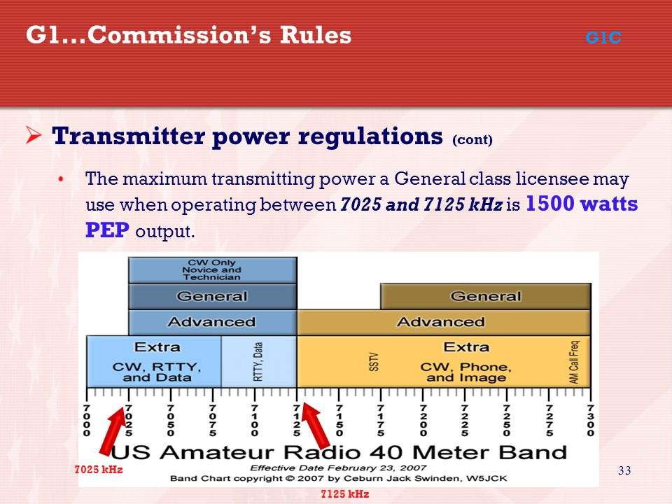 33 G1…Commission's Rules G1C  Transmitter power regulations (cont) The maximum transmitting power a General class licensee may use when operating between 7025 and 7125 kHz is 1500 watts PEP output.