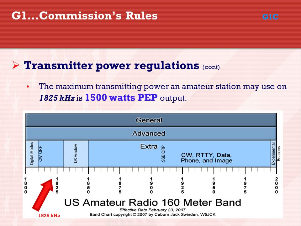 36 G1…Commission's Rules G1C  Transmitter power regulations (cont) The maximum transmitting power an amateur station may use on 1825 kHz is 1500 watts PEP output.
