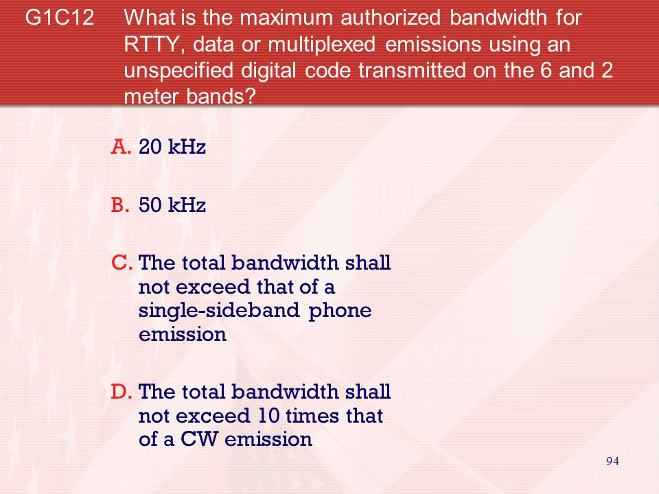 94 G1C12 What is the maximum authorized bandwidth for RTTY, data or multiplexed emissions using an unspecified digital code transmitted on the 6 and 2 meter bands.