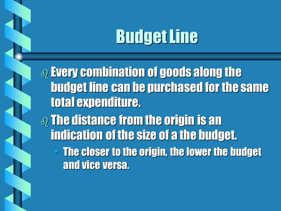 Budget Line b Every combination of goods along the budget line can be purchased for the same total expenditure. b The distance from the origin is an i