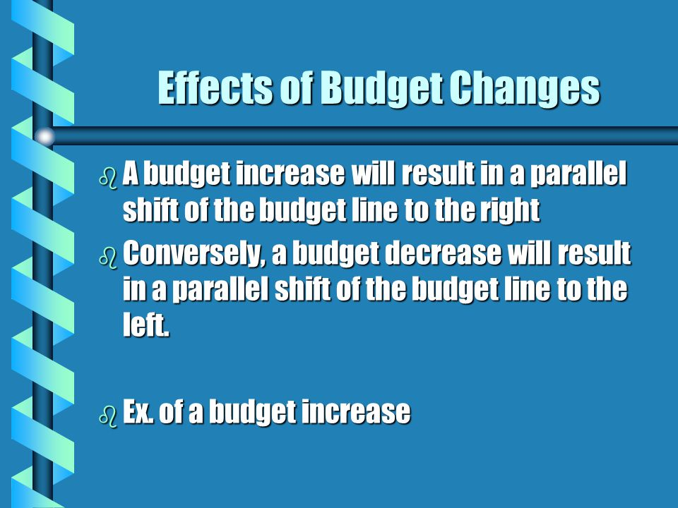 Effects of Budget Changes b A budget increase will result in a parallel shift of the budget line to the right b Conversely, a budget decrease will res