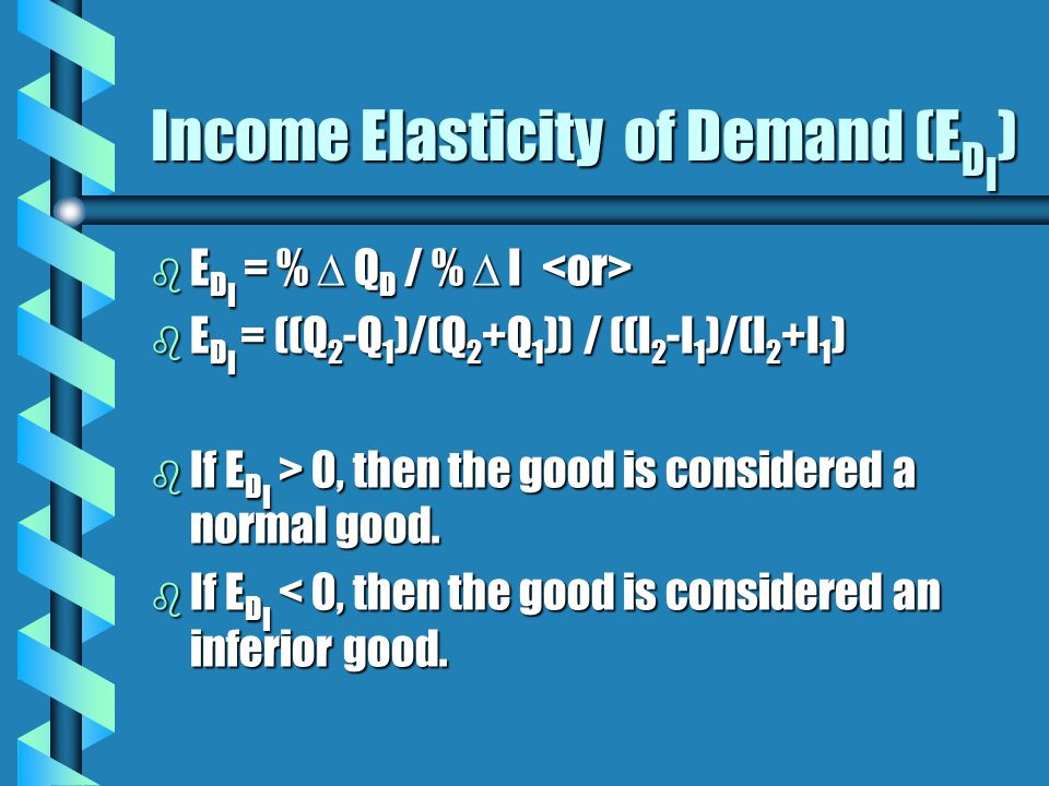 Income Elasticity of Demand (E D I ) b E D I = %  Q D / %  I  b E D I = %  Q D / %  I  b E D I = ((Q 2 -Q 1 )/(Q 2 +Q 1 )) / ((I 2 -I 1 )/(I 2 +I 1 ) b If E D I > 0, then the good is considered a normal good.