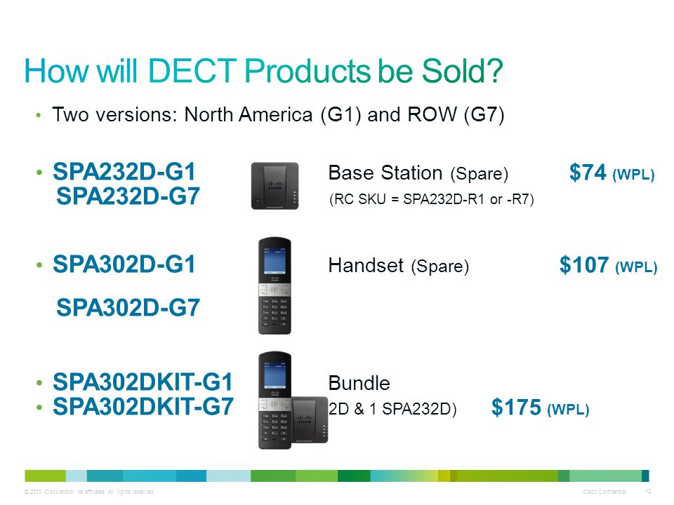 © 2010 Cisco and/or its affiliates. All rights reserved. Cisco Confidential 12 Two versions: North America (G1) and ROW (G7) SPA232D-G1 Base Station (