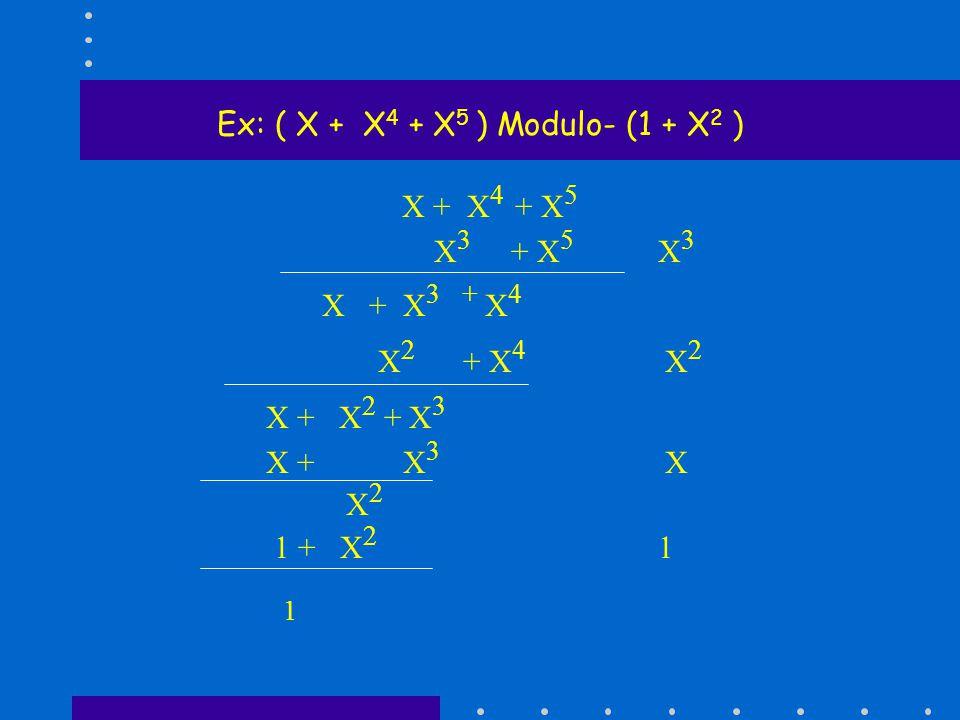 Ex: ( X + X 4 + X 5 ) Modulo- (1 + X 2 ) X + X 4 + X 5 X 3 + X 5 X 3 X + X 3 + X 4 X 2 + X 4 X 2 X + X 2 + X 3 X + X 3 X X 2 1 + X 2 1 1