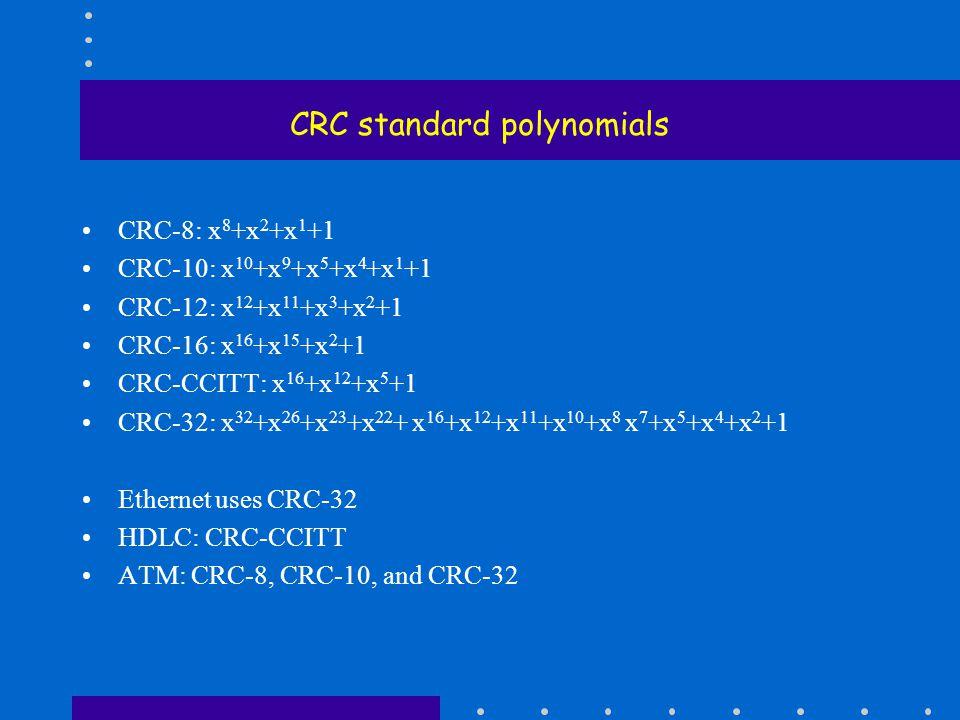 CRC standard polynomials CRC-8: x 8 +x 2 +x 1 +1 CRC-10: x 10 +x 9 +x 5 +x 4 +x 1 +1 CRC-12: x 12 +x 11 +x 3 +x 2 +1 CRC-16: x 16 +x 15 +x 2 +1 CRC-CCITT: x 16 +x 12 +x 5 +1 CRC-32: x 32 +x 26 +x 23 +x 22 + x 16 +x 12 +x 11 +x 10 +x 8 x 7 +x 5 +x 4 +x 2 +1 Ethernet uses CRC-32 HDLC: CRC-CCITT ATM: CRC-8, CRC-10, and CRC-32