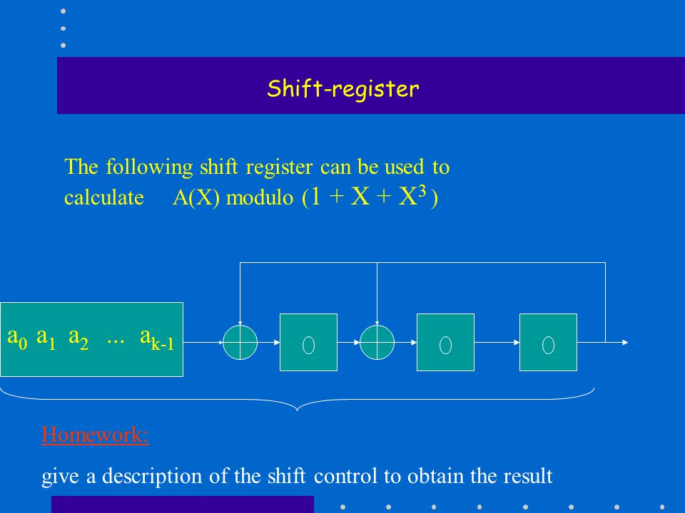 Shift-register The following shift register can be used to calculate A(X) modulo ( 1 + X + X 3 ) a 0 a 1 a 2...