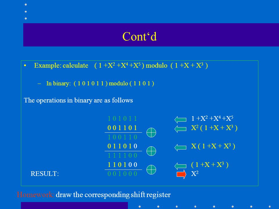 Cont'd Example: calculate ( 1 +X 2 +X 4 +X 5 ) modulo ( 1 +X + X 3 ) –In binary: ( 1 0 1 0 1 1 ) modulo ( 1 1 0 1 ) The operations in binary are as follows 1 0 1 0 1 1 1 +X 2 +X 4 +X 5 0 0 1 1 0 1 X 2 ( 1 +X + X 3 ) 1 0 0 1 1 0 0 1 1 0 1 0X ( 1 +X + X 3 ) 1 1 1 1 0 0 1 1 0 1 0 0( 1 +X + X 3 ) RESULT: 0 0 1 0 0 0 X 2 Homework: draw the corresponding shift register