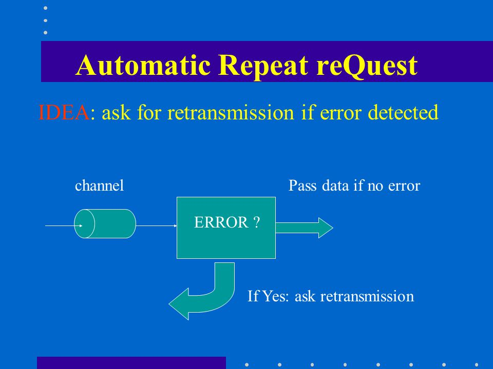 Some properties of ARQ Automatic Repeat-reQuest (ARQ) send ACK: packet OK send NACK: packet in error Some modes: –Resend the packet if no ACK received before timeout –Use a predetermined maximum # of retransmissions until it is correctly received Some ARQ protocols are –Stop-and-wait ARQ –Go-Back-N ARQ –Selective Repeat ARQ.