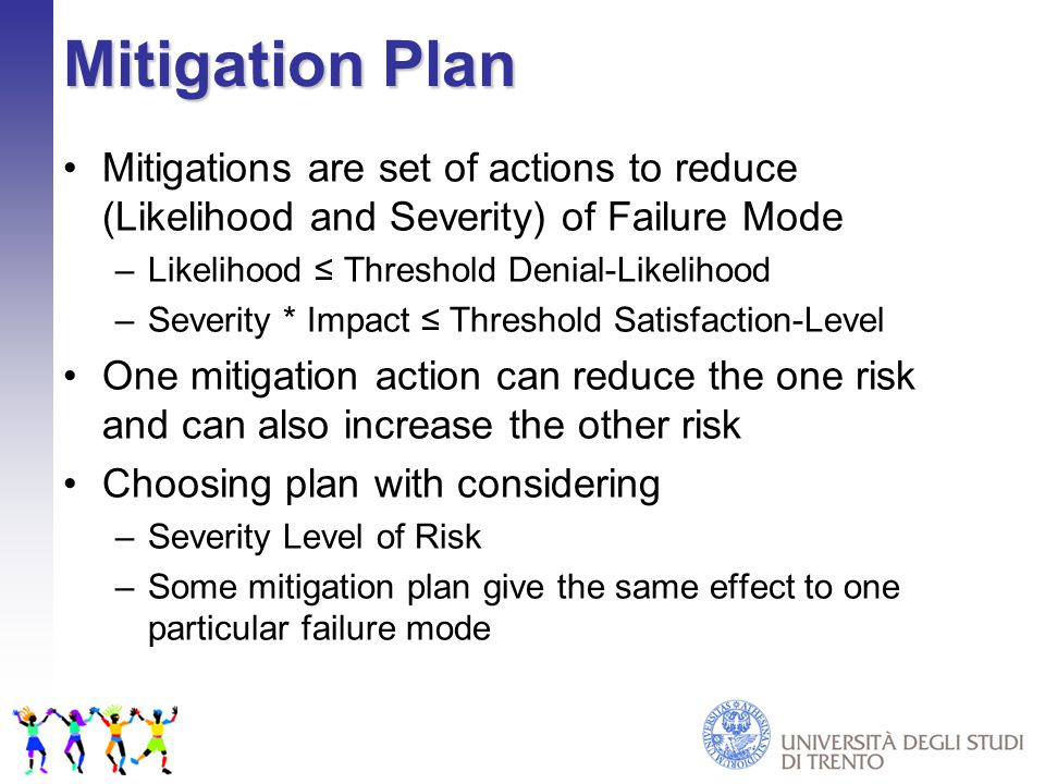 Mitigation Plan Mitigations are set of actions to reduce (Likelihood and Severity) of Failure Mode –Likelihood ≤ Threshold Denial-Likelihood –Severity