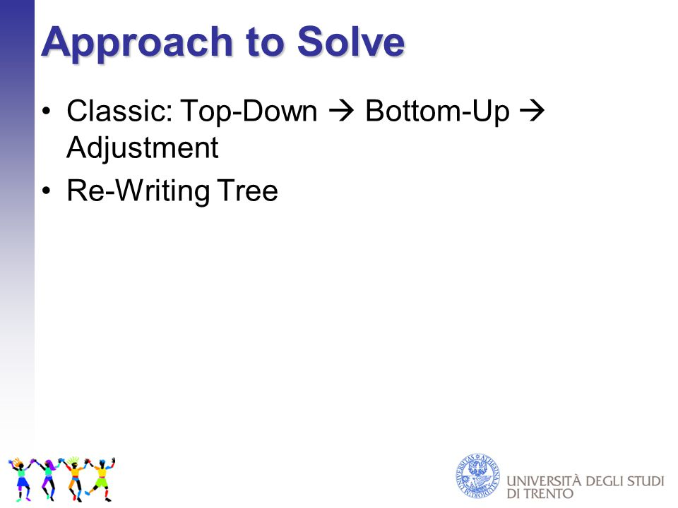 Approach to Solve Classic: Top-Down  Bottom-Up  Adjustment Re-Writing Tree