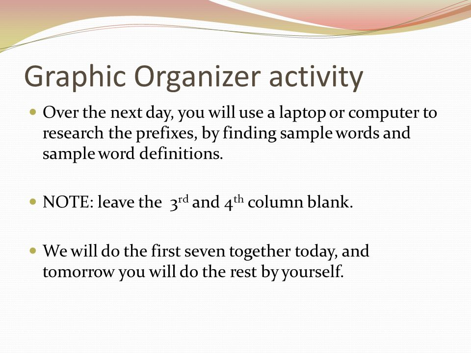Graphic Organizer activity Over the next day, you will use a laptop or computer to research the prefixes, by finding sample words and sample word defi