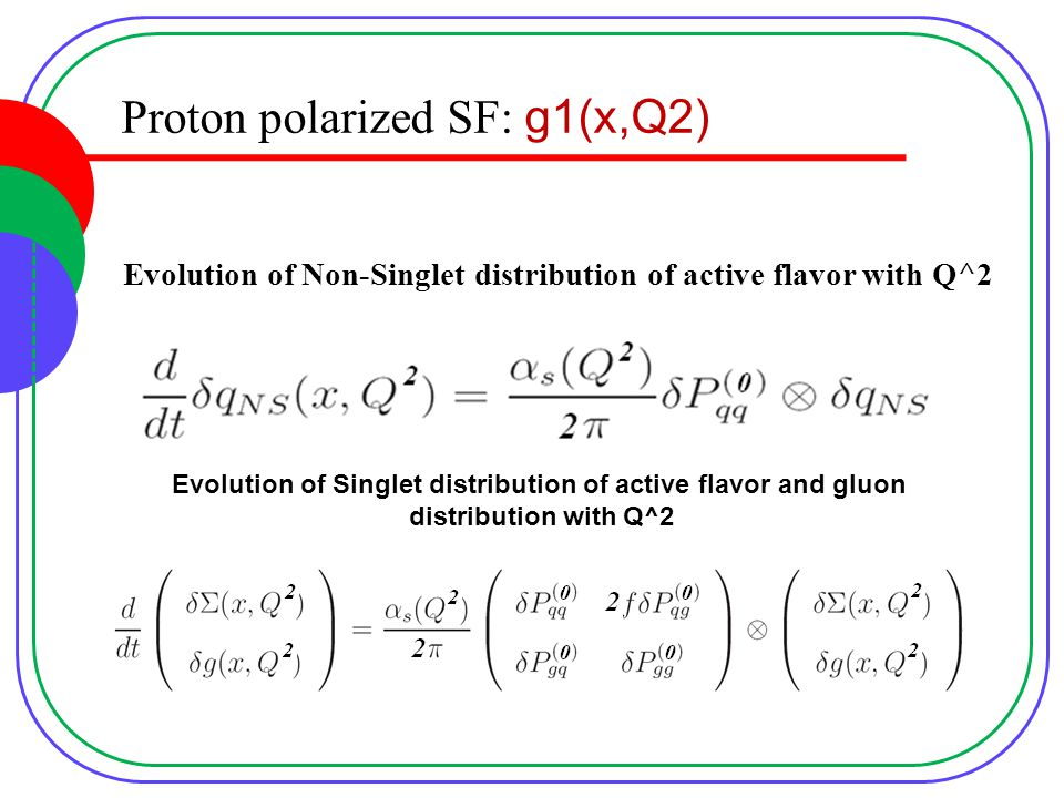 Proton polarized SF: g1(x,Q2) Evolution of Non-Singlet distribution of active flavor with Q^2 Evolution of Singlet distribution of active flavor and gluon distribution with Q^2