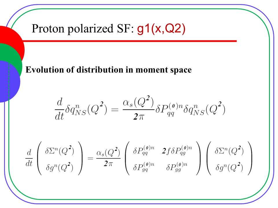 Proton polarized SF: g1(x,Q2) Evolution of distribution in moment space