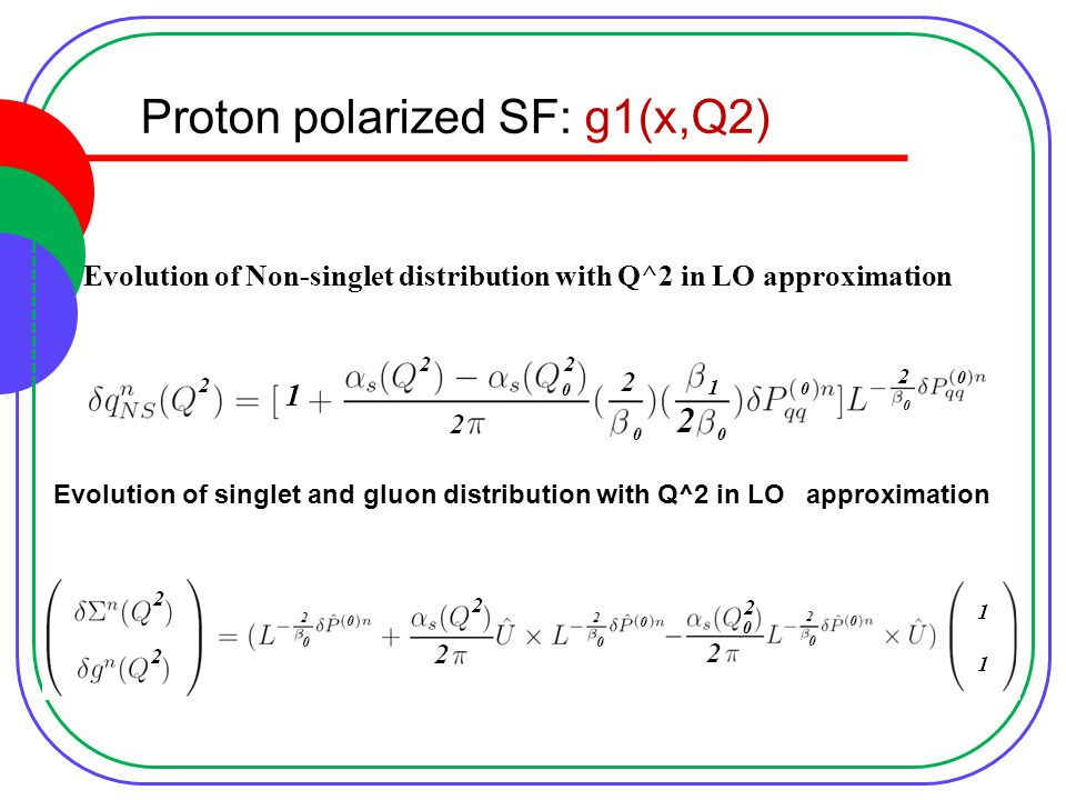 Proton polarized SF: g1(x,Q2) Evolution of Non-singlet distribution with Q^2 in LO approximation Evolution of singlet and gluon distribution with Q^2