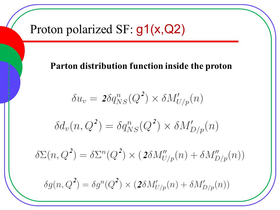 Proton polarized SF: g1(x,Q2) Parton distribution function inside the proton