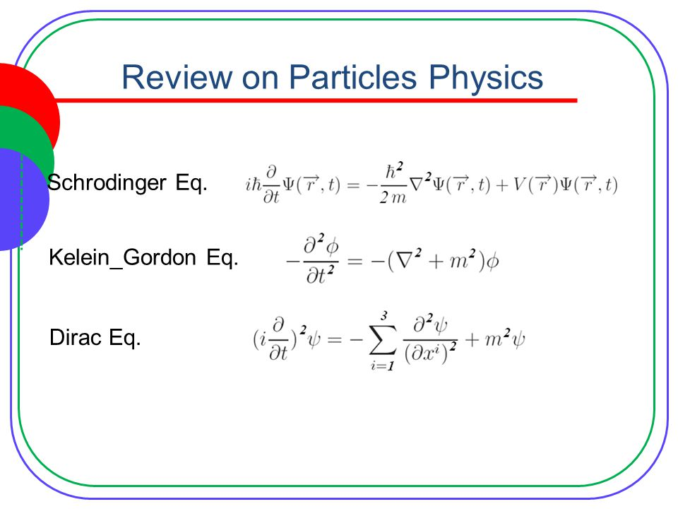 Review on Particles Physics Schrodinger Eq. Kelein_Gordon Eq. Dirac Eq.