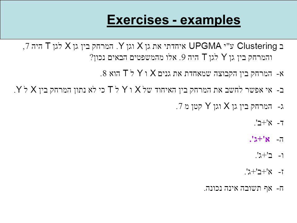 Exercises - examples ב Clustering ע י UPGMA איחדתי את גן X וגן Y.