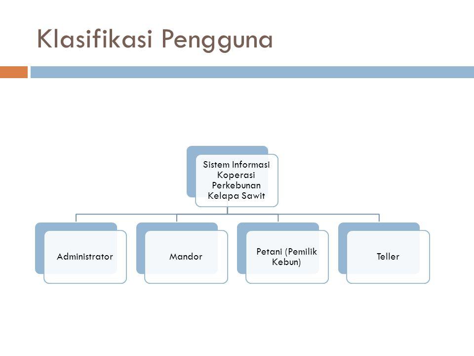Klasifikasi Sistem untuk Pengguna Sistem Informasi Koperasi Perkebunan Kelapa Sawit Modul Inputer Data dan Transportasi) Administrator Modul Data Entry Mandor Modul View Report Petani (Pemilik Kebun) Modul Koperasi Simpan Pinjam Teller