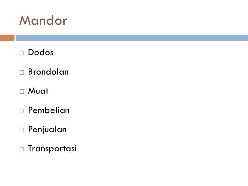 Mandor  Dodos  Brondolan  Muat  Pembelian  Penjualan  Transportasi