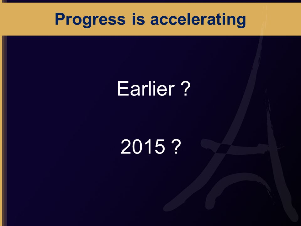 Progress is accelerating Earlier 2015