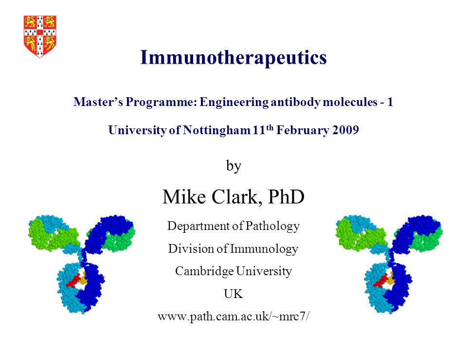 University Research Programmes Immunosuppression  CD4, CD3, monovalent CD3, CD52 (Campath) Tumour Therapy  CD52 (Campath), bispecific CD3 Organ Transplantation  CD52, CD3, CD4, synergistic CD45 pair Allo and auto-immunity  RhD, HPA-1a