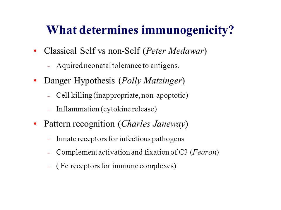 What determines immunogenicity? Classical Self vs non-Self (Peter Medawar)  Aquired neonatal tolerance to antigens. Danger Hypothesis (Polly Matzinge