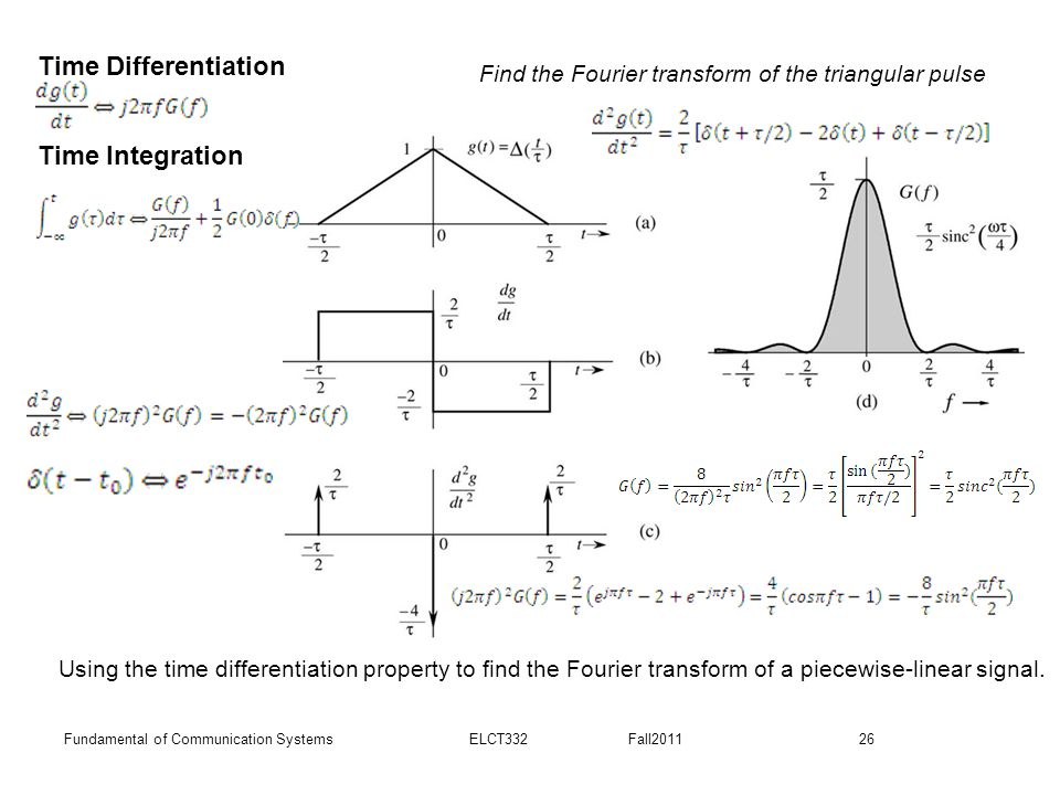 26Fundamental of Communication Systems ELCT332 Fall2011 Using the time differentiation property to find the Fourier transform of a piecewise-linear si