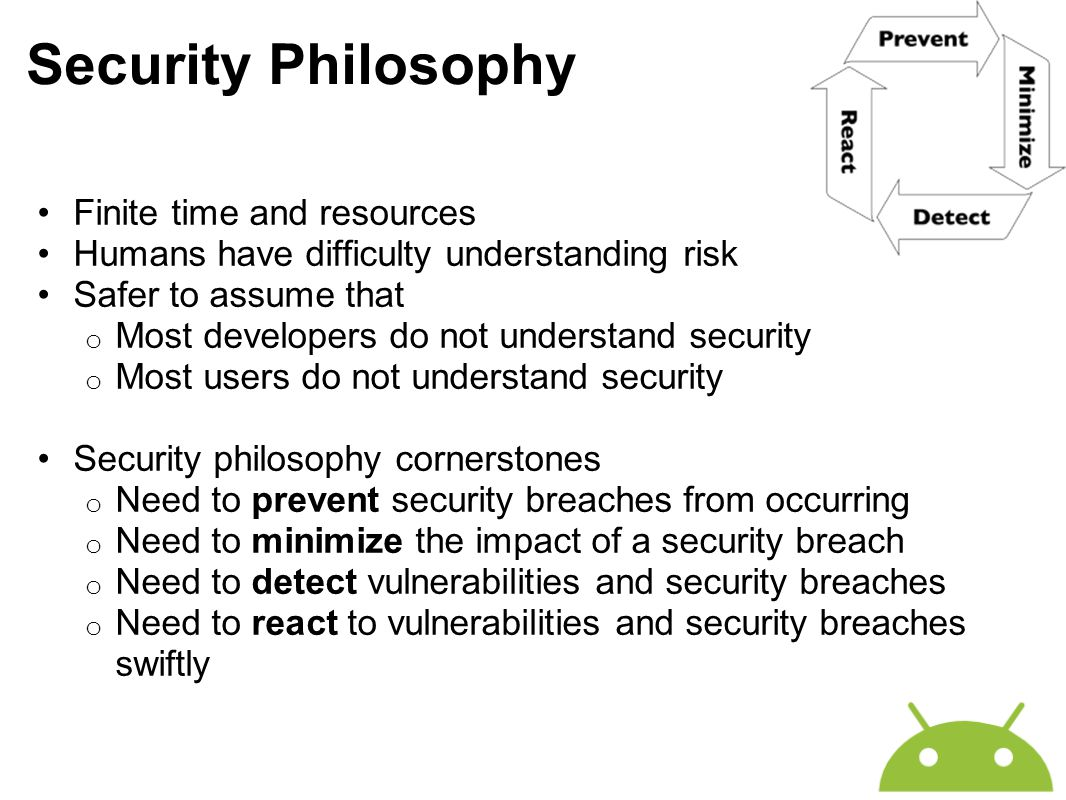 Security Philosophy Finite time and resources Humans have difficulty understanding risk Safer to assume that o Most developers do not understand secur