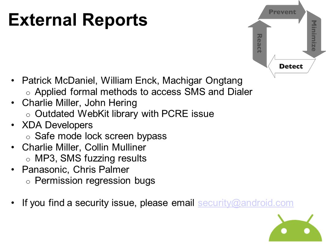 External Reports Patrick McDaniel, William Enck, Machigar Ongtang o Applied formal methods to access SMS and Dialer Charlie Miller, John Hering o Outd