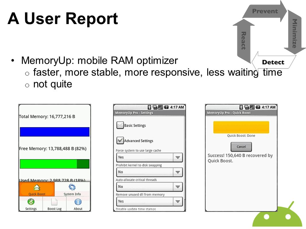 A User Report MemoryUp: mobile RAM optimizer o faster, more stable, more responsive, less waiting time o not quite